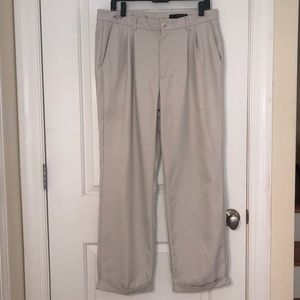 Greg Norman Golf Double Pleat Cream Cuffed Pants